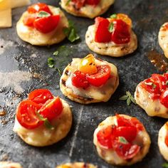Serve these bite-sized pizzas made from frozen bread dough and roasted cherry tomatoes. More tasty party appetizers: http://www.bhg.com/recipes/party/party-ideas/host-a-super-bowl-party/?socsrc=bhgpin101212timeoutpizzas#page=7