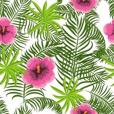 Stock vector of 'Tropical jungle palm leaves and hibiscus vector pattern background. Exotic nature pattern for fabric, wallpaper or apparel. Leaf Background, Background Patterns, Wallpaper Iphone Neon, Patterns In Nature, Nature Pattern, Neon Design, Nature Gif, White Leaf, Tropical Pattern