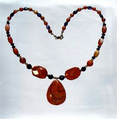 Jewelry Fire Agate Necklace & Pendant Faceted by MedicinalJewelry, $285.00