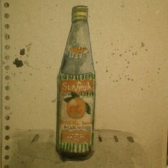 old squash bottle from 50's found in Met theatre (ink watercolour on brown paper)