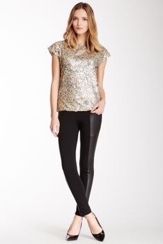Ponti leather panels pant and sequin top | HauteLook