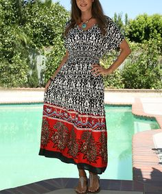 Look what I found on #zulily! Ananda's Collection Black & Red Baroque Smocked V-Neck Maxi Dress by Ananda's Collection #zulilyfinds