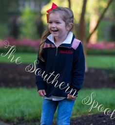 Childrens Quarter Zip Pullover by TheSouthernSpool on Etsy