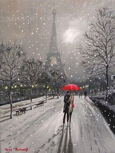 Red Umbrella With Eiffel Tower Black And White Print On