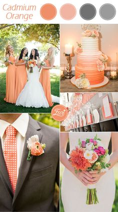 pantone cadmium orange and gray fall wedding color ideas 2015 wedding colors september / fall color wedding ideas / color schemes wedding summer / wedding in september / wedding fall colors Orange Wedding Colors, Fall Wedding Colors, Wedding Color Schemes, Wedding Flowers, Orange Weddings, Autumn Wedding, Wedding 2015, Our Wedding, Dream Wedding