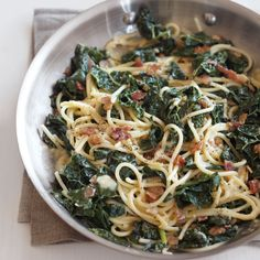 Spaghetti carbonara, the egg-rich pasta dish from Rome, is a beloved, comforting dinner. This creative take includes healthful and tasty greens. For a meatless option, ... read more