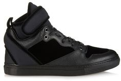 BALENCIAGA Velvet, leather and neoprene high-top trainers