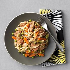 Pork and Vegetable Lo Mein Recipe -Traditional Asian flavors combine for a super supper that will please the whole family. —Simple & Delicious Test Kitchen