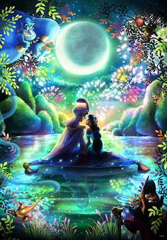 Tenyo Disney Princess Jasmine Aladdin Tenyo Disney Japan Jigsaw Puzzle Origin : Japan (Made in Japan) Piece : 1000 pcs Finished Size : 51 x cm Remarks : Glow in the Dark Bambi Disney, Disney Little Mermaids, Disney Art, The Little Mermaid, Punk Disney, Disney Movies, Walt Disney, Disney Princess Jasmine, Aladdin And Jasmine