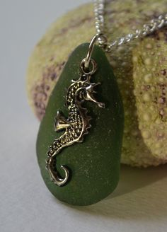 Forest green seaglass necklace with seahorse charm - $45