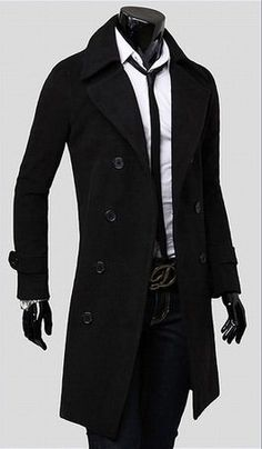 e90ce7a6107b2 Black Men Slim Fit Trench Coat Winter Long Jacket Double Breasted Overcoat  L. Renklimo · Japon Style Erkek Giyim