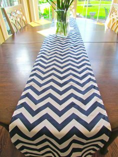 NAVY Blue TABLE RUNNER top Wedding Shower 13 x 72  Chevron Holiday Table Runners Table Cloth Decorative missoni baby shower. $24.95, via Etsy.