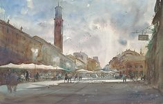 Evening, Verona, Italy II by Keiko Tanabe Watercolor ~ 24 x 39 inches (62 x 98 cm)