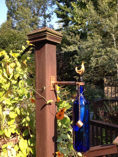 Add a touch of copper to your outdoor patio or backyard getaway with this unique Tiki Torch kit. Great addition to your holiday decorations, place these at your entrance way and light before your gatherings. It comes with a copper bracket to mount onto a post or the side of you house, a 12  cotton wick , a copper cap on a chain to cover the wick when not in use and all the hardware you need to secure the bracket. All you need to do is add your favorite wine bottle, fill it with citronella…