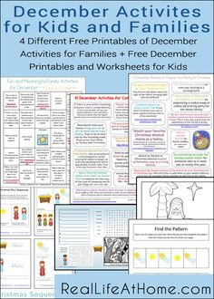 Free Printables for Families and Kids to Use in December | RealLifeAtHome.com