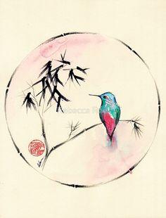 """Kolibri-Aquarellmalerei """"der kleinen Muse"""" von Rebecca Rees"""