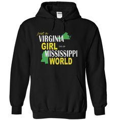 (Tshirt Choice) Virginia Girl in Missisippi at Tshirt United States Hoodies, Funny Tee Shirts