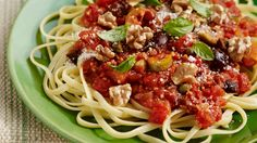 Pasta Puttanesca with Mixed Olives and Walnuts