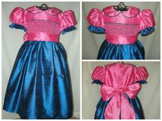 Roseberry and Cobalt Hand Smocked Sunday Best Silk Dress by Designer Lisa Ray at Red Bird Lane Designs www.redbirdlanedesigns.com