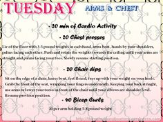 30 Day Work out challenge Tuesday arms and Chest