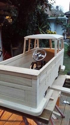 Pedal car and frame in place. Kids Go Cart, Vw T1 Camper, Soap Box Cars, Homemade Go Kart, Boat Pics, Diy Go Kart, Classic Pickup Trucks, Wooden Car, Kids Ride On