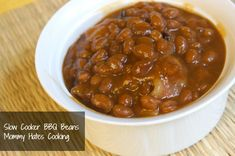 Slow Cooker BBQ Bacon Beans (Great side dish that's easy and no work for a cookout!)