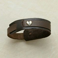 Leather bracelet with silver heart