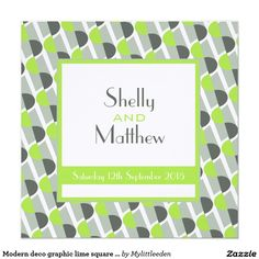 Modern deco graphic lime square wedding invite © www.mylittleeden.com #artdecowedding #retrowedding