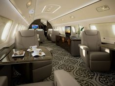 Find out the range, speed, cabin altitude, cabin noise levels, interior and more of the Embraer Lineage private jet! Also compare private jet charters. Jets Privés De Luxe, Luxury Jets, Luxury Private Jets, Private Plane, Avion Jet, Jet Privé, Luxury Helicopter, Private Jet Interior, Aircraft Interiors