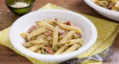 Patchwork Cactus' Pesto & Bacon Pasta recipe is as easy as they come! Bacon Pasta Recipes, Rice Recipes, Fall Recipes, Dinner Recipes, Creamy Pasta Dishes, Best Italian Recipes, Penne Pasta, Linguine, Pork Belly