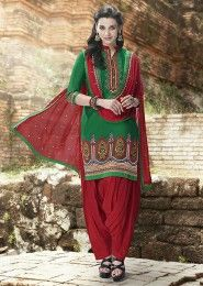 Casual Wear  Cotton Green Embroidered Work Patiala Suit