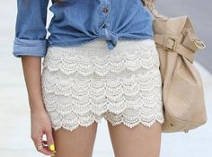 white lace shorts outfit