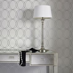 Darcy White Wallpaper - Circle Wall Coverings by Graham  Brown