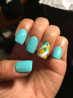Summer nails! Teal acrylics with pineapples                                                                                                                                                     More
