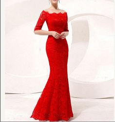 Sexy red lace bridal wedding dress A-line Mermaid Formal Evening Dress long sleeved Party Dress