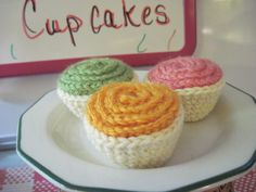 Crochet Play Vanilla Tea Party Cupcakes-Set of 3