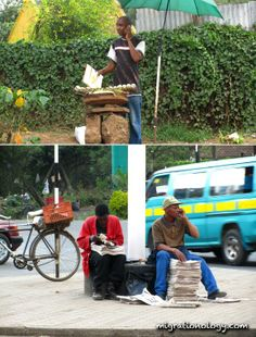 Nairobi scenes. Roasted maize (corn) seller, newspaper sellers.  I loved the maize!