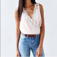 Kimchi Blue Pink Peach Pleated Lace Trim Crop Top Brand new no defects! Urban Outfitters Tops Crop Tops