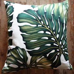 Feuillage Motif Graphique Noir Blanc Tropical Nature Feuille Floral Graphique Bloom Jungle Canap/é de Voiture Lit Coussin D/écoratif Carr/é 16 Pouces