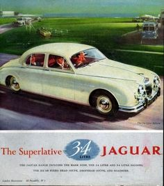 In the summer of 1959, my dad purchased a brand new Jaguar 3.4 Sedan at Waco Motors in Miami! (burled walnut dash, British Racing Green exterior, Brown leather seats... drove it over the new curved bridge to Miami Beach! A great car... was $5,995.00 in 1959. (1959 Jaguar 3 4 Sedan Original Color Ad | eBay)