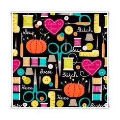 Tela love to sew, bonitos dibujos relacionados con la costura.