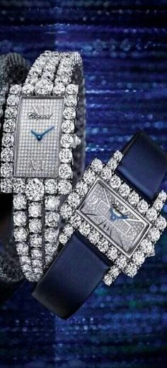 Chopard - Swiss Luxury Watches and Jewellery Manufacturer Bling Bling, High Jewelry, Jewelry Accessories, Ring Armband, Swiss Luxury Watches, Beautiful Watches, Unique Watches, Diamond Are A Girls Best Friend, Blue And Silver