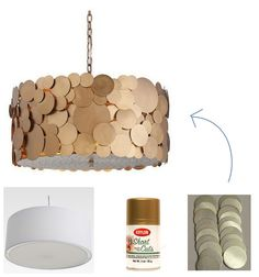 Fancy Drum Shade, CentsationalGirl (challenge: try to recreate the pricey fixture shown using a drum pendant shade, wood or aluminum disks, gold spray paint, and whatever else you might need)