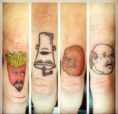 Cerulo Morello Aqua Teen Knuckle Tattoos, good old days. Hand Tattoos, Knuckle Tattoos, Finger Tattoos, Cool Tattoos, Klimt Tattoo, Bad Tattoos Fails, Tattoo Noten, Aqua Teen Hunger Force, Bad Tattoos