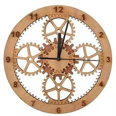 Giftgarden Gear Wood Wall Clock Friends Gift Round Shaped for Houses Decorative Clocks Wooden Clock Plans, Wooden Gear Clock, Wooden Gears, Wood Clocks, Diy Clock, Clock Decor, Wire Spool Tables, Cnc, Wall Watch