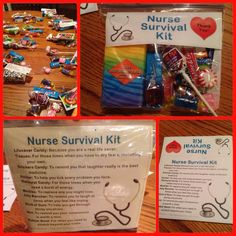 Nurse Survival Kit Courtesy of… Nurses Week Gifts, Staff Gifts, Gifts For Coworkers, Nurse Gifts, Survival Kit Gifts, Survival Supplies, Survival Quotes, Survival Gear, Lifesaver Candy
