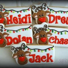 Cute little reindeer name plaques. reindeer artwork from @drawnwithcharacter and cutter is from my friend Cari @sinfuldecadence @Sugarcravings