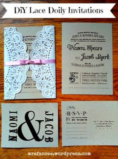 Typeset ideas Lace Doily DIY Wedding Invitations via Mrs. Fancee