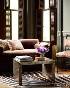 zebra rug, shutters, elle decor