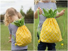 DIY Pineapple Backpack Tutorial by Stitched by Crystal at Make It & Love It.Because the tutorial is so detailed for this DIY pineapple backpack, it is an ideal project for a beginner sewer.